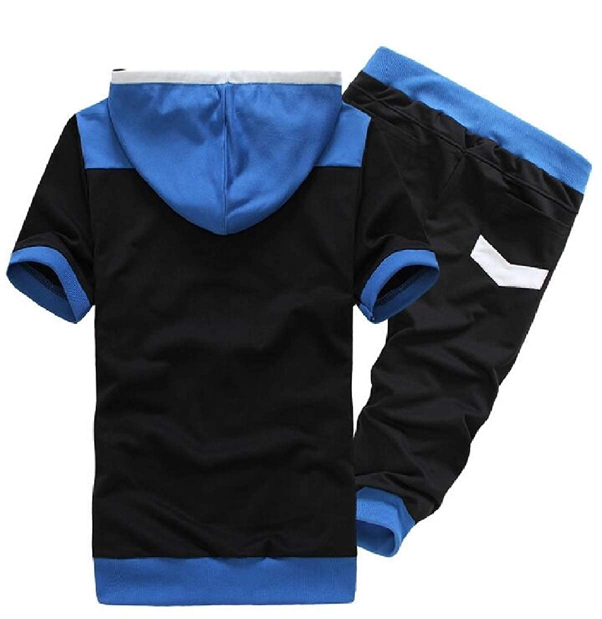 CBTLVSN Mens Contrast Color Running Two Piece Outfits Hot Shorts Casual Hooded Tracksuits