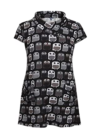 42f5b47dadb STELLA MORGAN OWL PRINT KNITTED BUTTON TUNIC DRESS MULTI RED 8 10 12 14 16 ( 8): Amazon.co.uk: Clothing