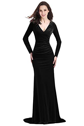 YSMei Womens Long V Neck Velvet Evening Prom Dress Sleeves Formal Party Gown Black 02