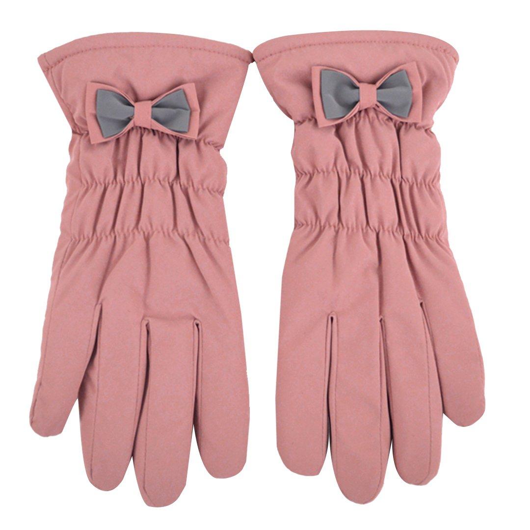 Aisaレディースファッション防風手袋タッチ画面フル指手袋スキーアウトドアスポーツ手袋厚手Warmerミトンwith Bowknot B0769K7G7R  ピンク