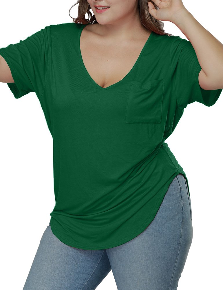 Allegrace Womens Casual Scoop Collar Plus Size T Shirts Summer Tops Tee Green 2XL