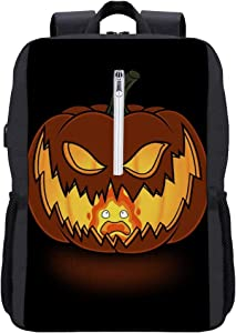 Halloween Calcifer Flame Backpack Daypack Bookbag Laptop School Bag with USB Charging Port
