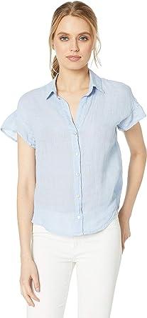 3539f5c83 Bella Dahl Women's Ruffle Short Sleeve Button Down Linen Top Water-Front  Blue Medium