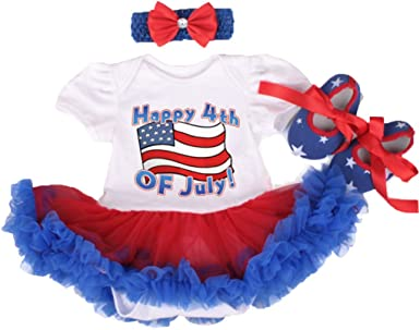 Happy First 4th Of July Baby Girls Red White Blue Bodysuit Tutu Dress Romper