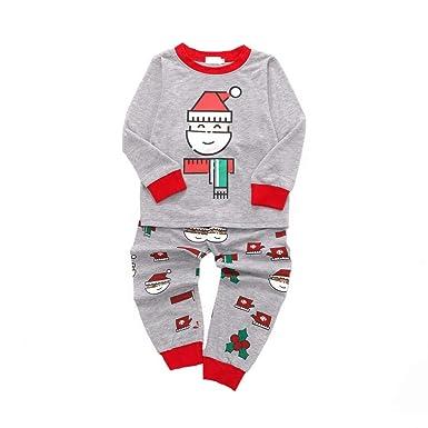 2adec9dc0eb5 Amazon.com  kaiCran Kids Baby Santa Pajamas Toddler Boy Girl Long ...