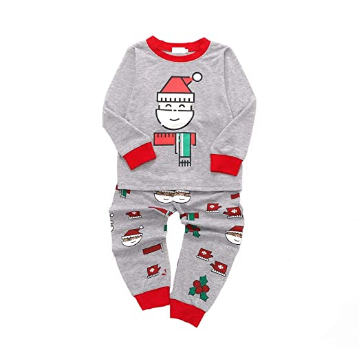 b0459ee478ab0 Amazon.com: KONFA Teen Toddler Baby Girls Boys Christmas Clothes, Santa  Claus Long Sleeve T-Shirt Tops+Pants Outfits, for 1-5 Years Kids: Clothing