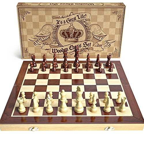 aGreatLife Wooden Chess Set: Universal Standard Wooden Chess Board Game Set - Handcrafted Wood Game Pieces, Pawns - with 15-inch Board and with Magnet Closure - Perfect Beginner Chess Set for Kids
