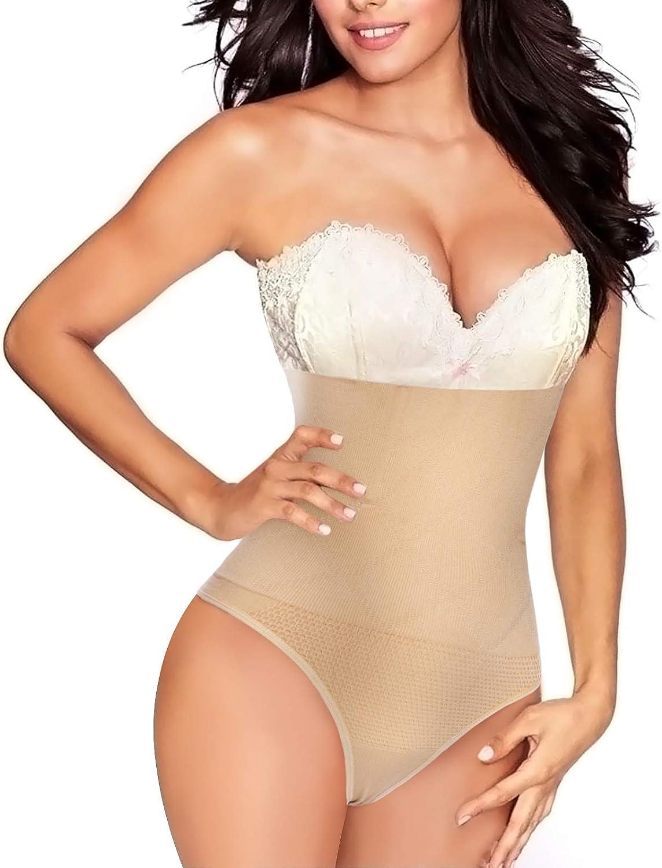 Junlan Gaine Amincissante Invisible String Ventre Plat Femme Culotte Gainante sans Couture Culotte Minceur Taille Haute