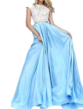 Fanmu Cap Sleeve A Line Lace Satin Prom Dresses Evening Gowns Blue US 2