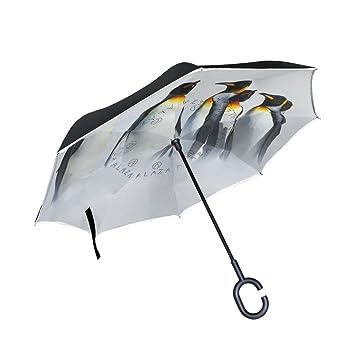 jstel doble capa puede blanco paraguas de pingüino en la nieve para mar coches Reverse resistente