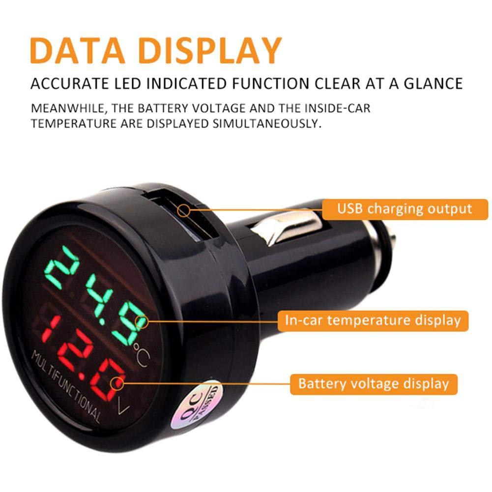 sweetcandya 3 in1 Autothermometer Voltmeter Temperatur LED Digital Volt Temp Multimeter Tester Thermometer USB 2.1A Auto ladeger/ät temperaturanzeige USB Auto ladeger/ät