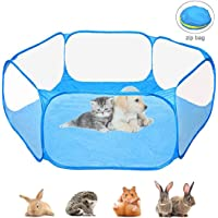 Small Animal Playpen Portable Pet Cage Tent Outdoor Exercise Fence Pop-Up Yard Fences Play Pen for Guinea Pig, Rabbits, Hamster, Chinchillas and Hedgehogs