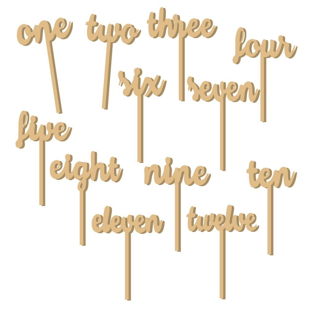 Giga Gud 12pcs (1-12) Wooden Table Numbers on Sticks for for Party Home Decoration Vintage Birthday Event Banquet Anniversary Decor Natural Wooden Catering Reception