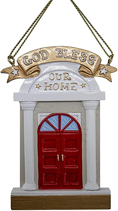 Kurt Adler A2020 God Bless Our Home Door Hanging Ornament for Personalization, 3-inch Height, Resin