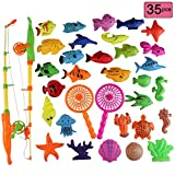 Gresdent 35pcs Bath Toy,Cute Floating Pool Toys,Magnetic Fishing Puzzle Game Toy,Color Ocean Sea Animals Bath Toy
