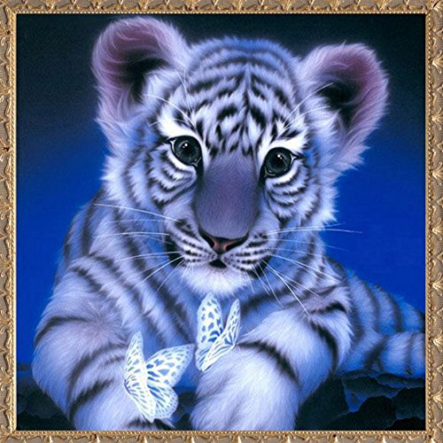 Adarl 5D DIY Diamond Painting Rhinestone Pictures Of Crystals Embroidery Kits Arts, Crafts & Sewing Cross Stitch (Baby Tiger With Butterfly)