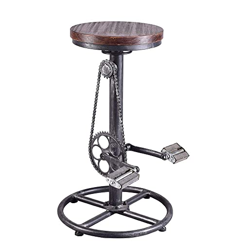 BOKKOLIK Industrial Bar Stool-Swivel Vintage Coffee Kitchen Dining Island Chair-Bike Pedal Footrest-Extra Tall Pub Height Adjustable 29-37