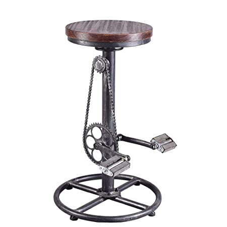 Industrial Bar Stool-Swivel Vintage Coffee Kitchen Dining Counter Chair-Bike Pedal Footrest-Pub Height Adjustable 29-37