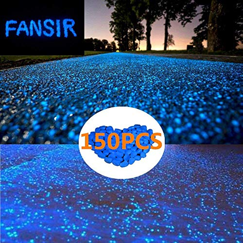 (150pcs Glow in The Dark Garden Pebbles,Glow Stones Rocks for Walkways Outdoor Decor Aquarium Fish Tank Garden Decorative Stones for Path Lawn Yard Walkway (Blue))