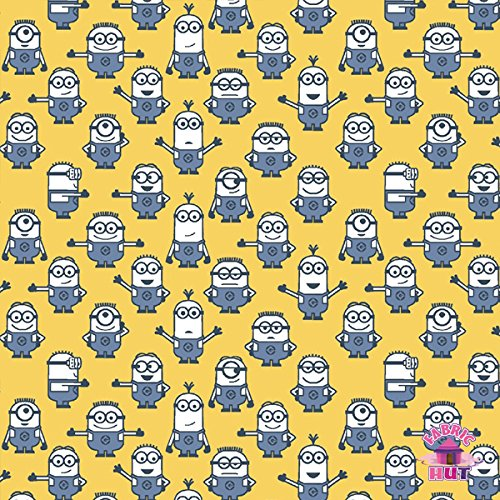 Despicable Me 1 in a Minion Graphic Yellow Fabric by the -