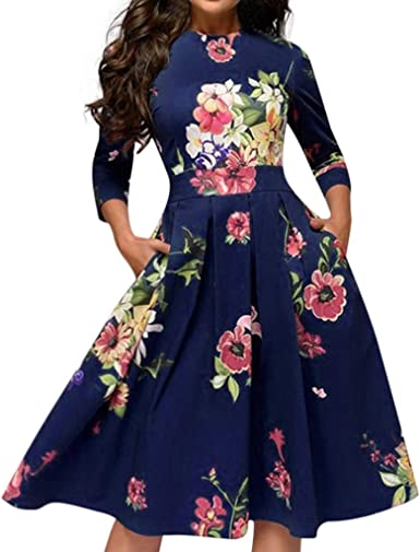 Shakumy Women Elegant Half Sleeve Mini Dress Casual Vintage Floral Splice Tunic Dress Crew Neck Summer Sundress Beach
