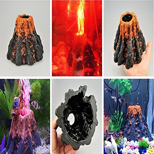 NszzJixo9 Aquarium Volcano Shape & Air Bubble Stone Oxygen Pump Fish Tank Ornament Decor Practical and Durable Home Using Product Creates Water Currents and Dazzling Underwater Scenes