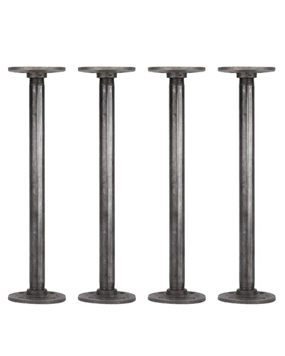 Rustic Industrial Pipe Decor Table Legs,Authentic Industrial Steel Grey Iron Fittings, Flanges and Pipes for Custom Vintage Tables and Furniture Decorations, DIY Kit with Hardware, (12-inch)