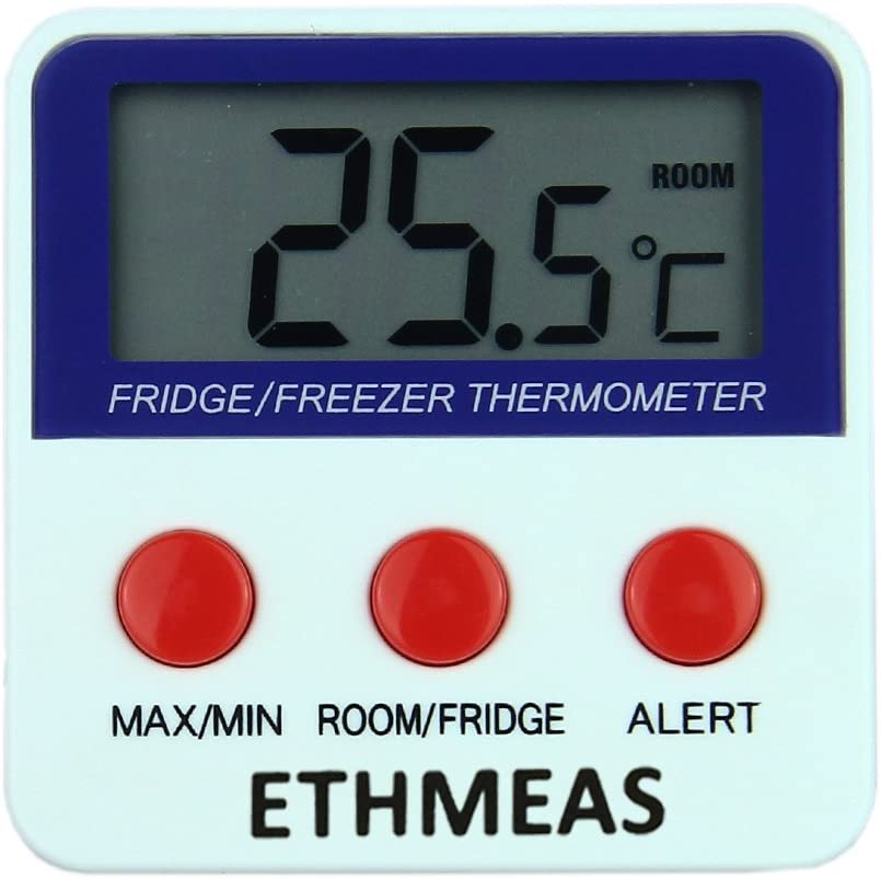 ETHMEAS Digital Refrigerator Fridge Thermometer Freezer Room Thermometer with High and Low Alarm,Max//Min Record Function