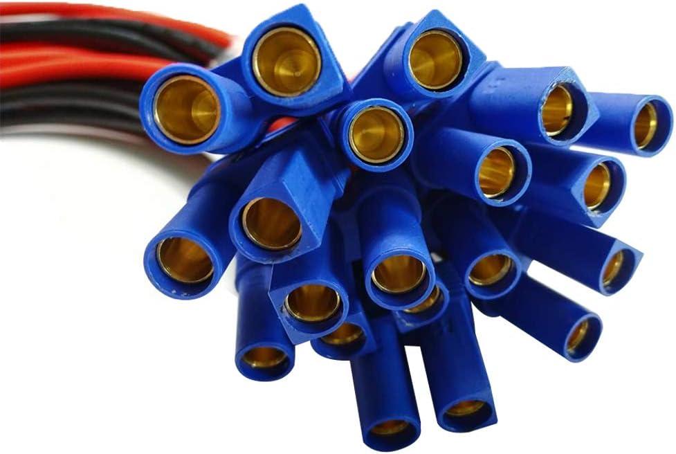 10AWG EC5 Cable de Conector Hembra para RC ESC Cargador Lateral Potencia 50cm // 1.6ft ANLIS EC5 al Terminal de Anillo t/órico