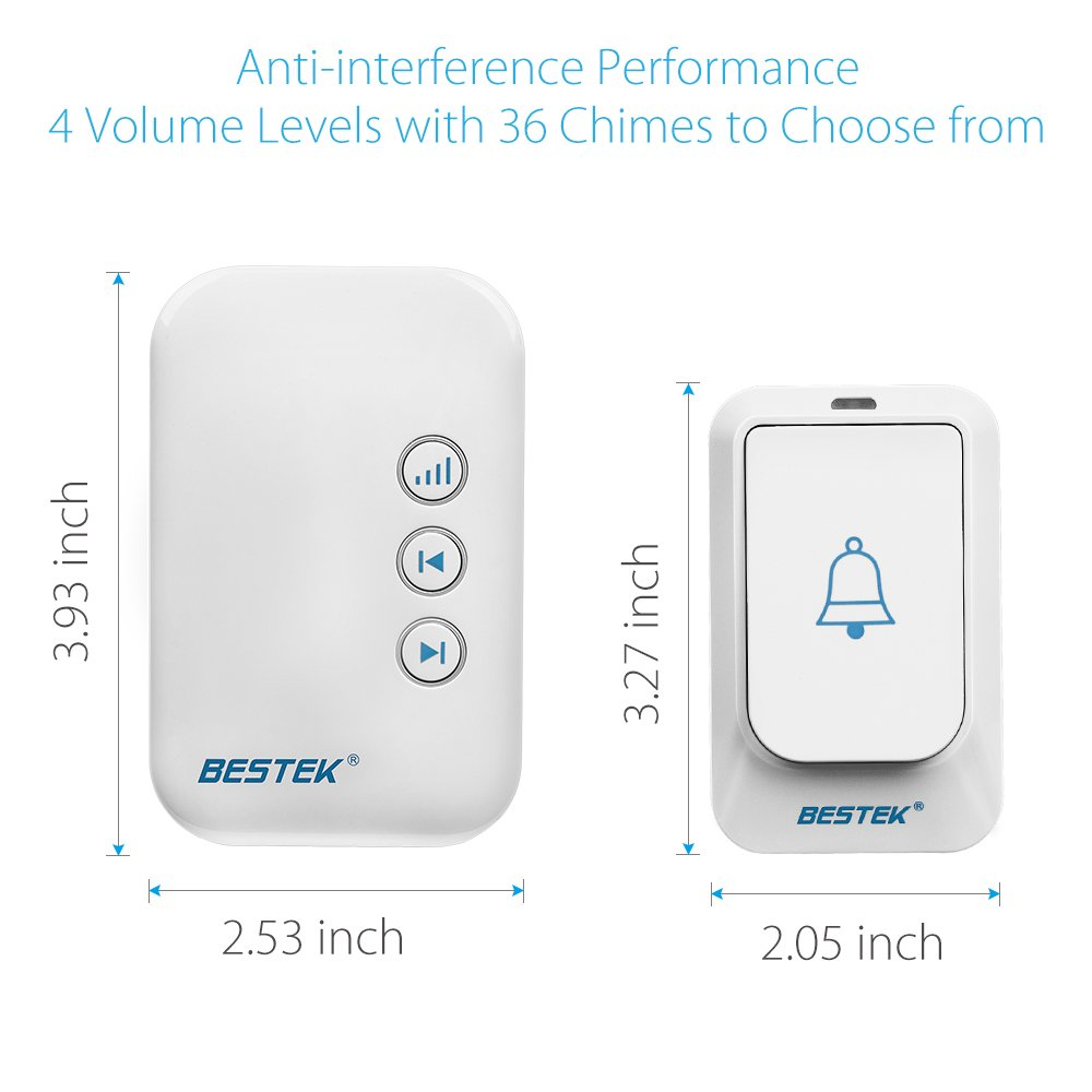 BESTEK Wireless Doorbell, Doorbell Kit Operating at over 500-feet Range with 2 Remote Buttons and 1 Plugin Receiver, LED Flash Lights, 36 Chimes for Home and Office (FCC Certification)-White by BESTEK (Image #5)