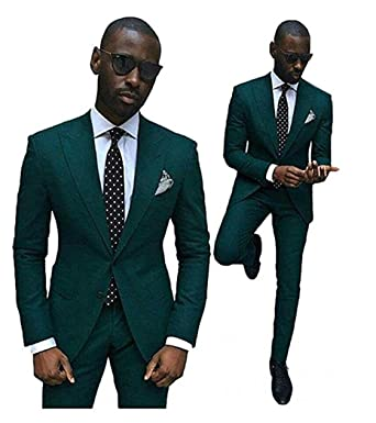 Green Slim Fit Wedding Suits for Men 2 Pieces Groom Tuxedos Business ...