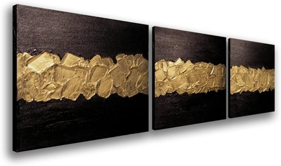 Elegance Canvas Wall Art Modern Handmade Oil Painting Black and Gold Abstract Artwork Wood Inside Framed Home Living Room Decoration Wall Hanging Art Set of 3