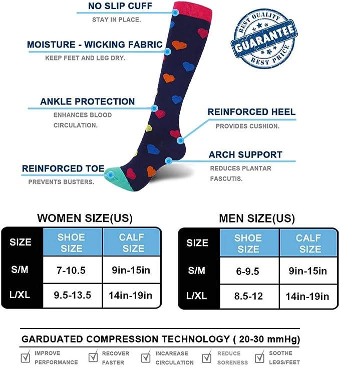 Sabarry Lot de 3 paires de chaussettes de compression pour femme et homme