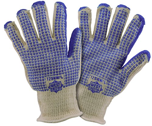 Hot Knit Mill (West Chester T25NW/S Double Layer Loop In Hot Mill Glove with Blue Nitrile Pattern, Blue, Small (Pack of 12))