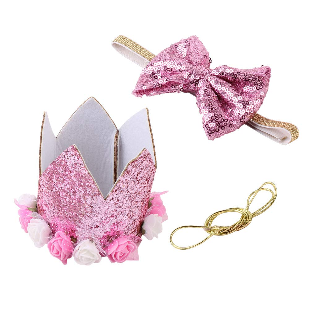 Golden UKCOCO 2pcs Crown Dog Birthday Hat Glitter Cat Caps Bow Happy Birthday Party Hats for Pets Accessories Photo Booth Props