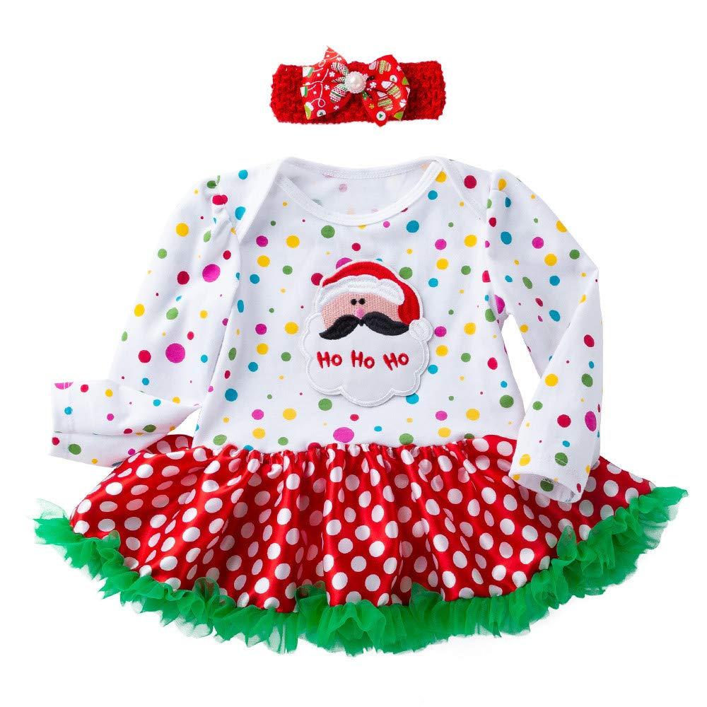 Disfraz Navidad Vestido para Bebe Ni/ñas 3 Meses-18 Meses Invierno PAOLIAN Conjuntos Monos Vestido y Diademas Manga Largas Lunares Papa Noel Oto/ño Ropa Bebe Traje de Navidad Decoracion arbol