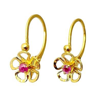 Diamantly Boucles D Oreilles Dormeuse Fleurs Ajouree Rubis Or