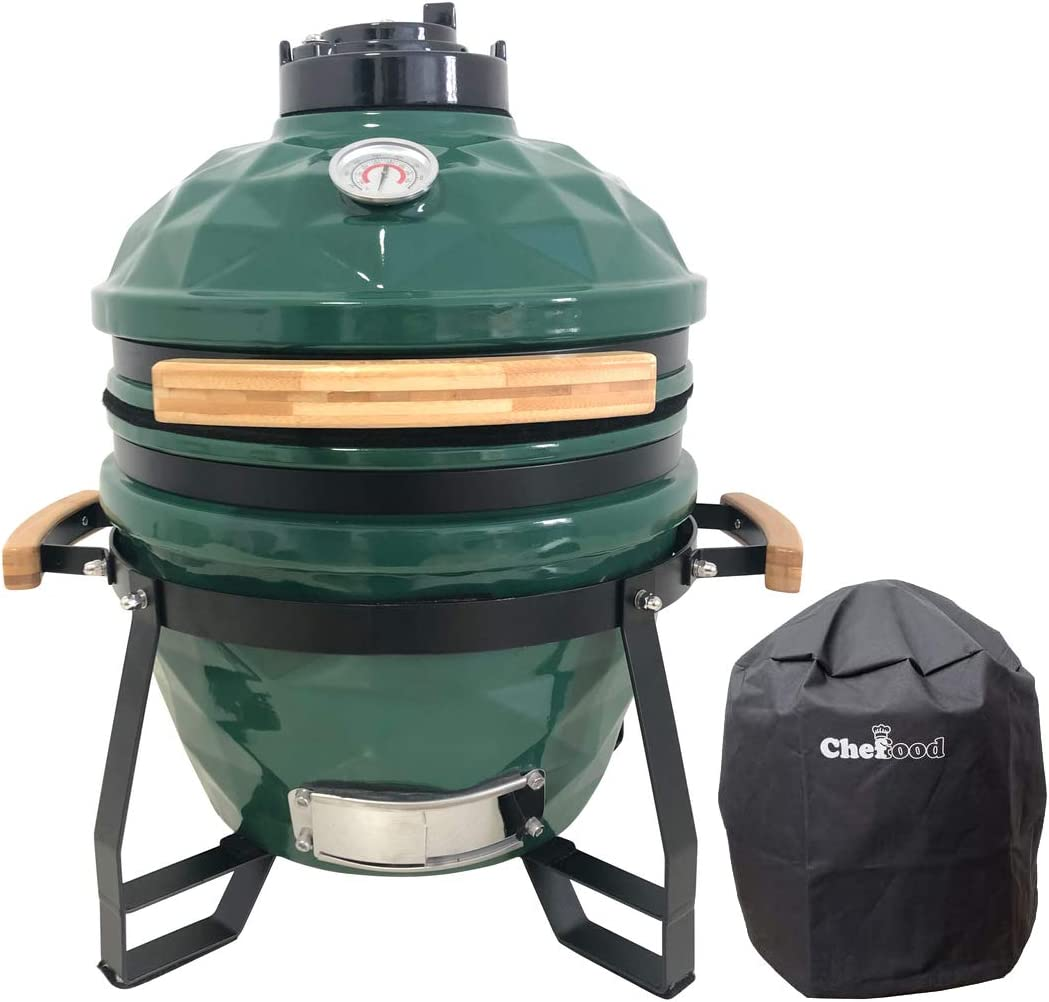 Chefood 16 Ceramic Kamado Style BBQ Cooking Charcoal Grill Pack with a Cover