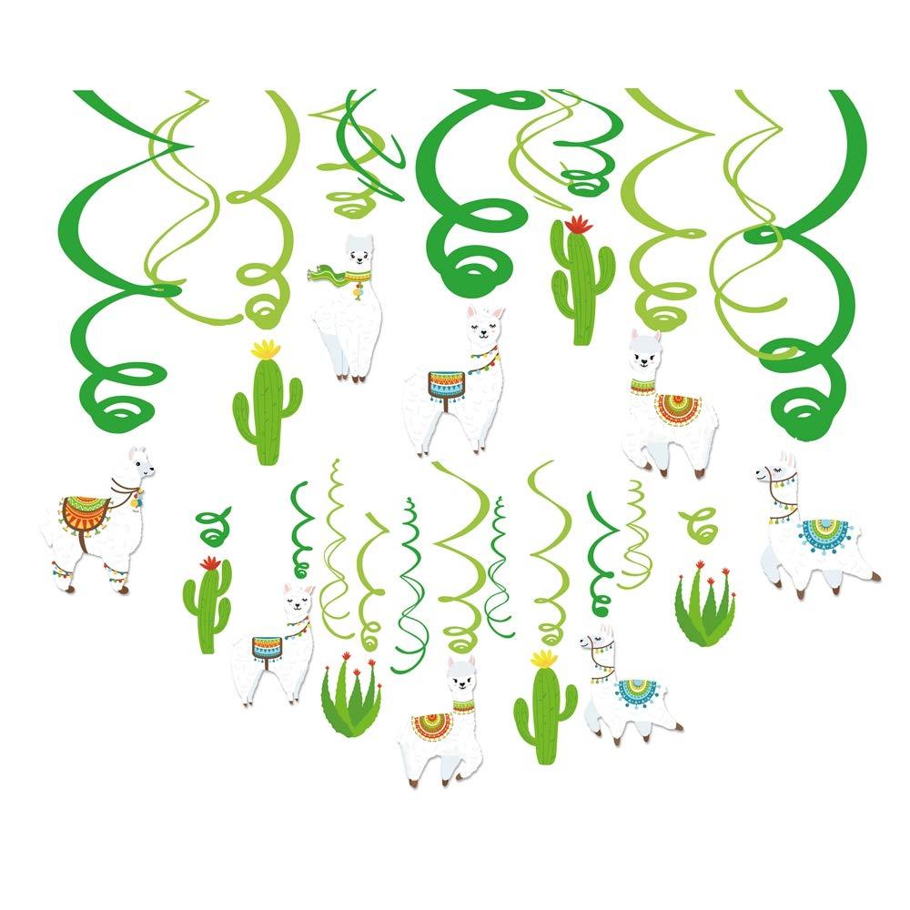 Kristin Paradise 30Ct Llama Cactus Hanging Swirl Decorations, Alpaca Birthday Fiesta Party Supplies for Boy Girl Kids, Baby Shower Classroom Llamacorn Peru Theme Decor, 1st First Bday Favors