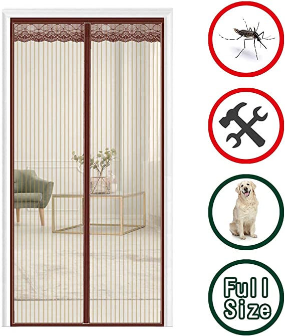 GUOGAI Mosquitera Puerta Magnetica 75x210cm(30x83inch) Mosquiteras Enrollables Cortina Protección Mantiene Insectos afuera para Puertas Correderas, Marrón: Amazon.es: Hogar