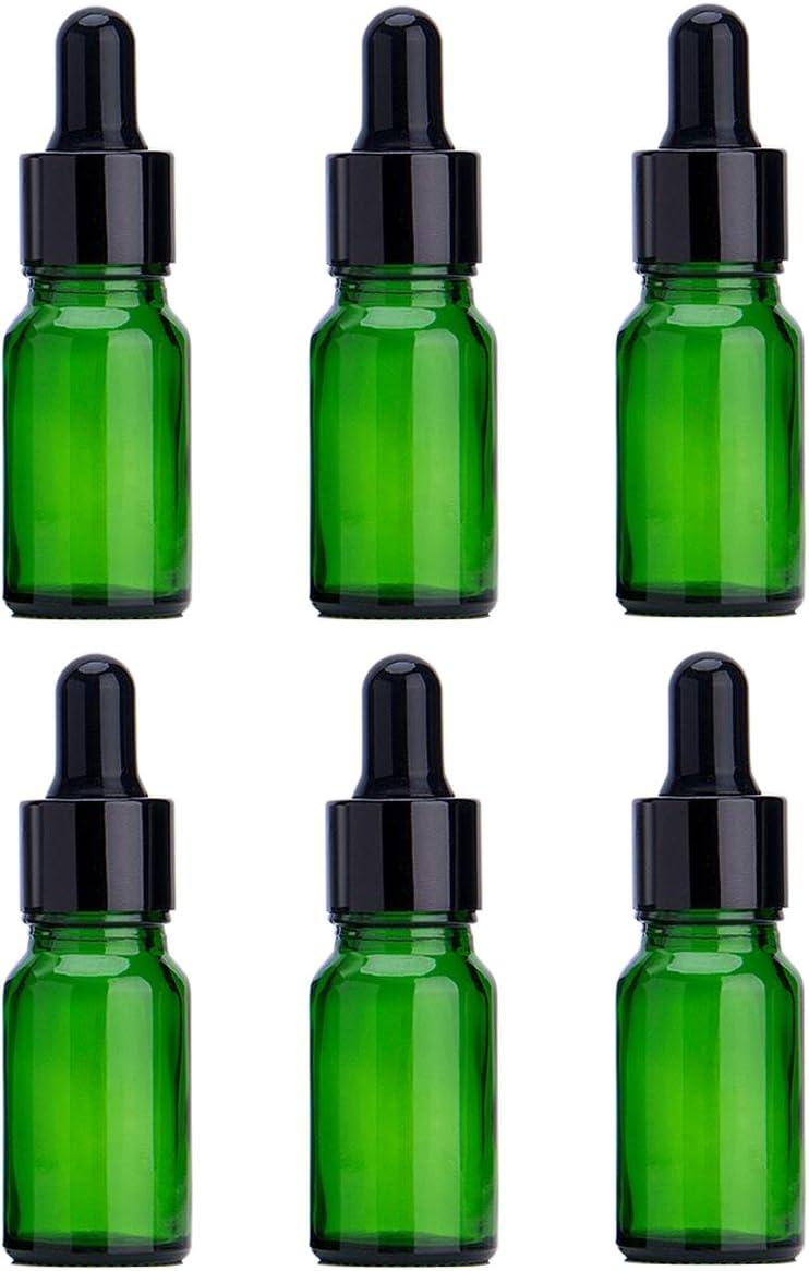 6PCS Verde Vidrio del Aceite Esencial Frascos Botella Frasco cuentagotas con Tapa Negra Maquillaje Frasco cosmético envase de contenedores para aromaterapia Perfume (5ml/0.17oz)
