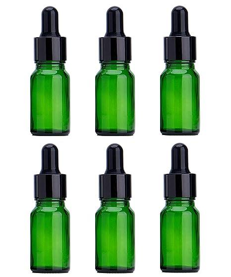 6PCS Verde vidrio del aceite esencial Frascos botella frasco cuentagotas con tapa negra maquillaje frasco cosmético