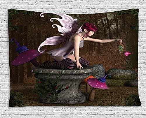 Ambesonne Fairy Tapestry, 3 Dimensional Mythical Creature Design with Artifact on Pedestal Forest, Wide Wall Hanging for Bedroom Living Room Dorm, 60 X 40 , Brown Pink