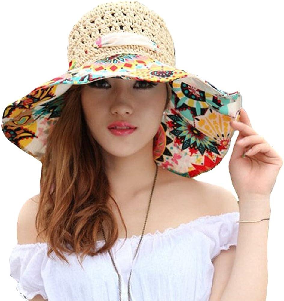 TININNA Pieghevole Bohemia Floreale floscio Large Wide Brim Cappello di Paglia Spiaggia Cappello da Sole Visiera cap per Signore delle Donne