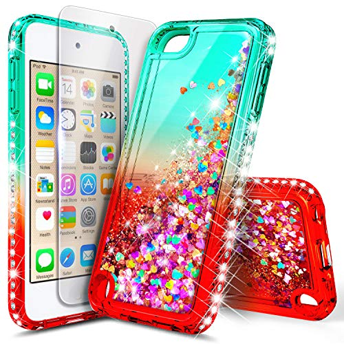iPod Touch 7th /6th /5th Generation Case, iPod Touch 7/6/5 with Tempered Glass Screen Protector for Women Girls Kids, NageBee Glitter Sparkle Liquid Floating Waterfall Durable Cute Case -Teal/Candy (Ipod Touch Smart Cover)