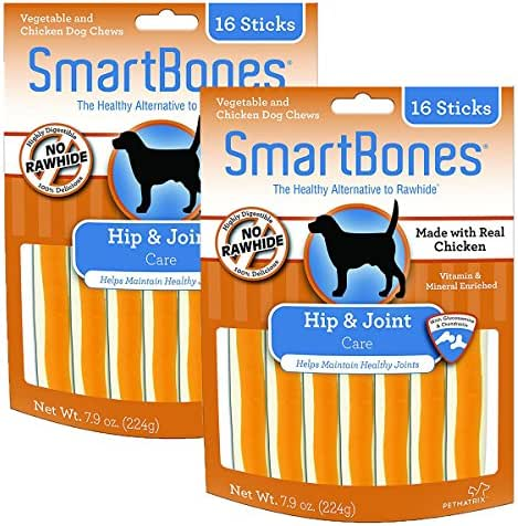 Smart Bone Functional Sticks Hip and Joint Dog Chews, 16 pieces/pack; pack of 2