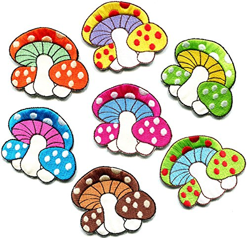 (Lot of 7 mushroom boho hippie retro love peace groovy weed shrooms trance embroidered appliques iron-on patches new )