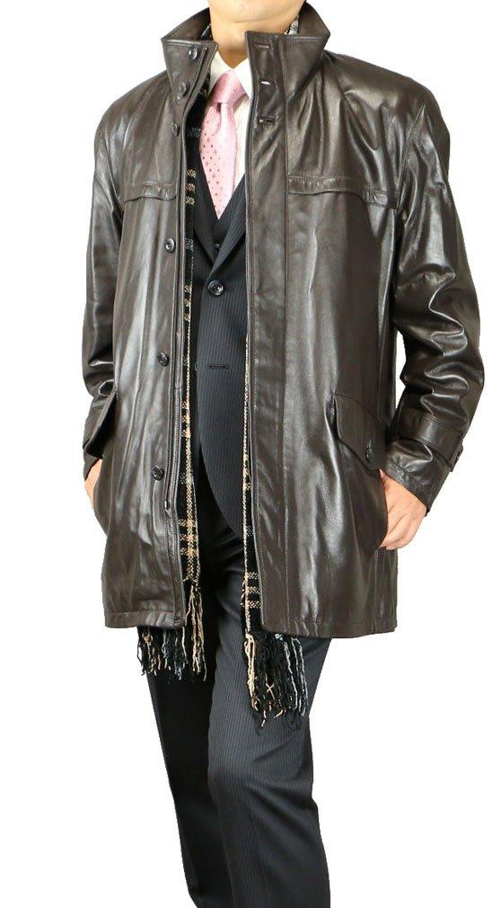 レザー ショートコート ジャケット メンズ 高級ラム ブラック/ダークブラウン 512052 B00PRIX1T2 LL|ダークブラウン ダークブラウン LL