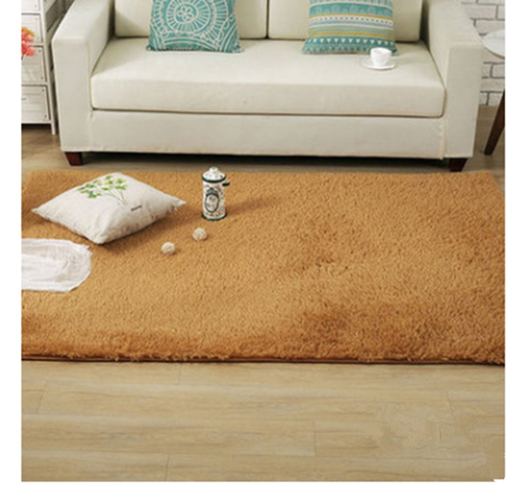 Genius_Baby Super Soft Modern Shag Area Rugs Living Room Carpet Bedroom Rug for Children Play Solid Home Decorator Floor Rug and Carpets (Khaki)