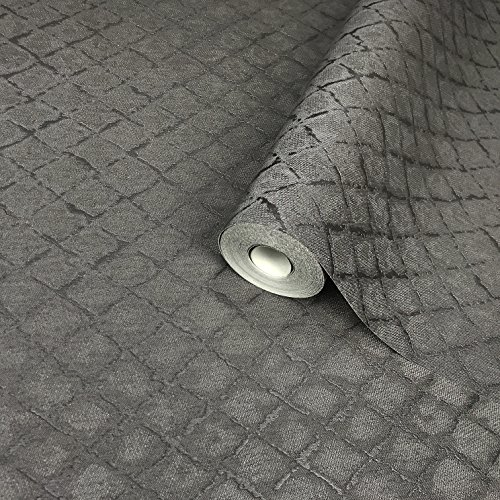 113.52sq.ft roll paste the wall only Embossed Slavyanski modern wallcovering dark gray silver metallic titanium small diamonds geometric pattern Vinyl Non-Woven Wallpaper textured geometrical lines 3D
